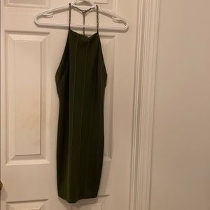 Army Green Dress with Chain